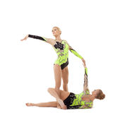 Two young acrobats dance in free program Royalty Free Stock Photography