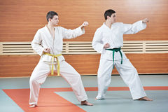 Two man at taekwondo exercises Stock Photo