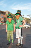 USA, AZ/Tempe: St. Patricks Day - Irish in Arizona. Two young Americans are dressed up to celebrate St. Patricks Day (March 17) in Tempe, Arizona/USA Royalty Free Stock Images