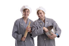Two young apprentice cooks Stock Photography