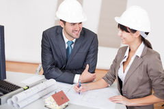 Two young architects in the meeting Stock Images