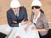 Two young architects in the meeting Stock Photography