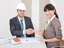 Two young architects in the meeting Royalty Free Stock Image