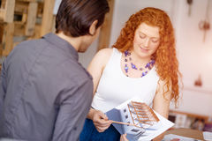 Two young architects in office Stock Photo