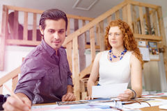 Two young architects in office Royalty Free Stock Photos