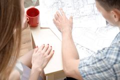 Two young architectures working at projective Stock Photography