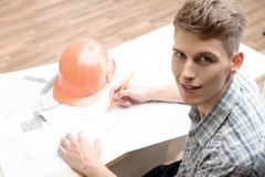 Two young architectures working at projective Royalty Free Stock Image