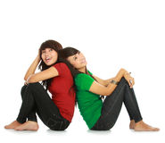 Two young asian female thinking Stock Photo