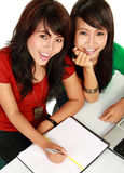 Two young asian student studying Royalty Free Stock Photography
