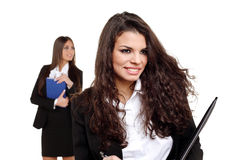 Two young attractive business girls Royalty Free Stock Images