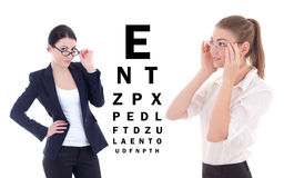 Two young attractive business women in eyeglasses and eye test c Royalty Free Stock Photos