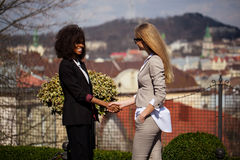 Two young and attractive businesswoman shaking hands with each other after a great deal. One women is black. Stock Images