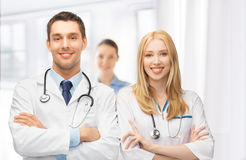 Two young attractive doctors Royalty Free Stock Images