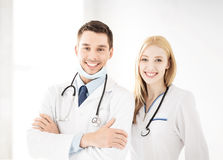 Two young attractive doctors Royalty Free Stock Image