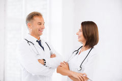 Two young attractive doctors Royalty Free Stock Photo