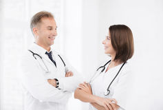 Two young attractive doctors Royalty Free Stock Photography