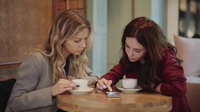 Two young attractive friends talking in a cafe, phone and photos pan shot. Two young and beautiful women are sitting together in a cafe and talking about a stock video