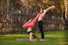 Two young attractive girls practicing yoga outdoor. Two young attractive girls practicing yoga outdoor Royalty Free Stock Image