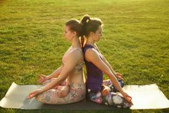 Two young attractive girls practicing yoga outdoor. Two young attractive girls practicing yoga outdoor Royalty Free Stock Photos