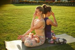 Two young attractive girls practicing yoga outdoor. Two young attractive girls practicing yoga outdoor Royalty Free Stock Images