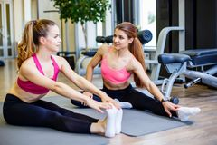 Two young attractive sporty women doing pilates or yoga exercise on the mat in fitness studio royalty free stock image