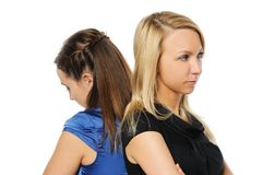 Two young attractive women standing Stock Images