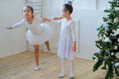 Two young ballet dancers learning the lesson near Christmas tree. Try some new pose Royalty Free Stock Photo