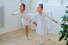 Two young ballet dancers learning the lesson near Christmas tree. Try some new pose Stock Photography