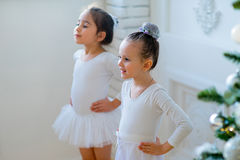 Two Young Ballet Dancers Learning The Lesson Near Christmas Tree Royalty Free Stock Photo