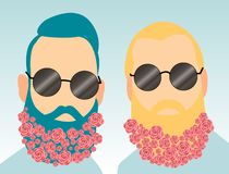 Two young bearded men with flowers in their beards. Fashionable style. Wear round sunglasses Stock Illustration