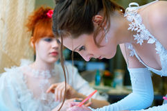 Two young beautiful brides Stock Images