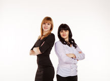 Two young beautiful business women Royalty Free Stock Images