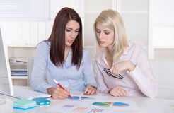 Two young beautiful business women working with graphs at desk. Stock Image