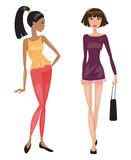 Two young beautiful fashionable woman. Vector illustration Stock Photography