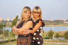 Two young beautiful girls Stock Photos