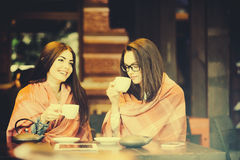 Two young and beautiful girls gossiping Stock Image