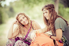 Two young beautiful girls hippie Stock Photo