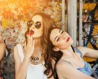 Two young beautiful girls Royalty Free Stock Images