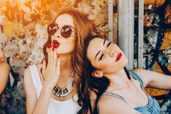 Two young beautiful girls Royalty Free Stock Photo