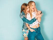 Two Young Beautiful Hipster Girls In Trendy Clothes In Studio Stock Photos