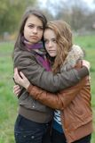 Two Young Beautiful Teen Girls friendly Hug Royalty Free Stock Photos