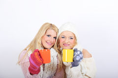 Two Young beautiful winter girls with tea cup Royalty Free Stock Photography