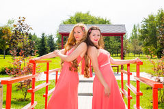 Two young beautiful woman with long hair and outdoor. Two young beautiful women with long hair and outdoor royalty free stock image