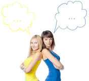 Two young beautiful woman on white Royalty Free Stock Photography