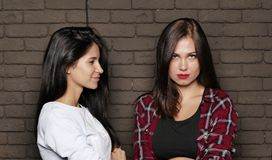 Two young and beautiful womans are posing near the brick wall Stock Images