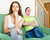 Two young beautiful women angry Stock Photos