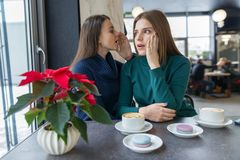 Two young beautiful women secretly sitting at a table in a coffee shop, girls whisper a secret in their ear.  royalty free stock photos