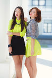 Two young beautiful women on the street in the city. Royalty Free Stock Image