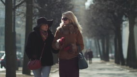 Two young beautiful women walking and talking on a city street with trees. Two young beautiful women, blonde and brunette walking and talking on a city street stock footage