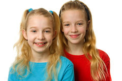 Two young blonde girls Stock Photo
